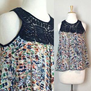 Hazel Embroidered Shoulder Swing Tank Sz S…